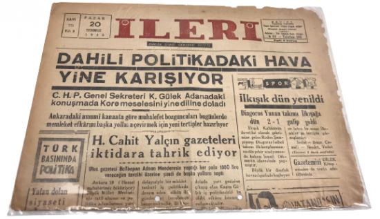 İLERİ GÜNLÜK SİYASİ DEMOKRAT GAZETE 20 TEMMUZ PAZAR 1952 ANTALYA İLERİ GAZETESİ SATIŞ FİYATI 5 KURUŞTUR