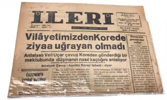 İLERİ GÜNLÜK SİYASİ DEMOKRAT GAZETE 20 ŞUBAT SALI 1951 ANTALYA İLERİ GAZETESİ SATIŞ FİYATI 5 KURUŞTUR