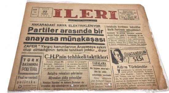İLERİ GÜNLÜK SİYASİ DEMOKRAT GAZETE 22 TEMMUZ SALI 1952 ANTALYA İLERİ GAZETESİ SATIŞ FİYATI 5 KURUŞTUR