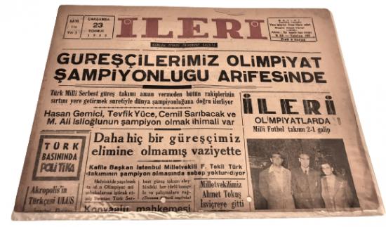 İLERİ GÜNLÜK SİYASİ DEMOKRAT GAZETE 23 TUMMUZ CARŞAMBA 1952 ANTALYA İLERİ GAZETESİ SATIŞ FİYATI 5 KURUŞTUR