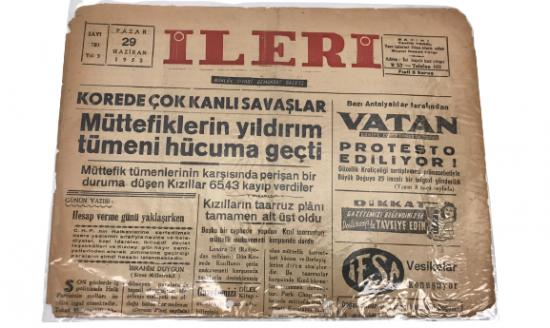 İLERİ GÜNLÜK SİYASİ DEMOKRAT GAZETE 29 HAZİRAN PAZAR 1952 ANTALYA İLERİ GAZETESİ SATIŞ FİYATI 5 KURUŞTUR