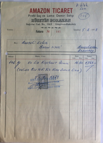 1979 TARİHLİ AMAZON TİCARET TARAFINDAN KESİLMİŞ FATURA