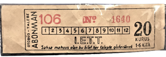 İETT 1960 KAGIT OTOBUS ABONMAN BİLETİ 20 KURUŞ NO 1460