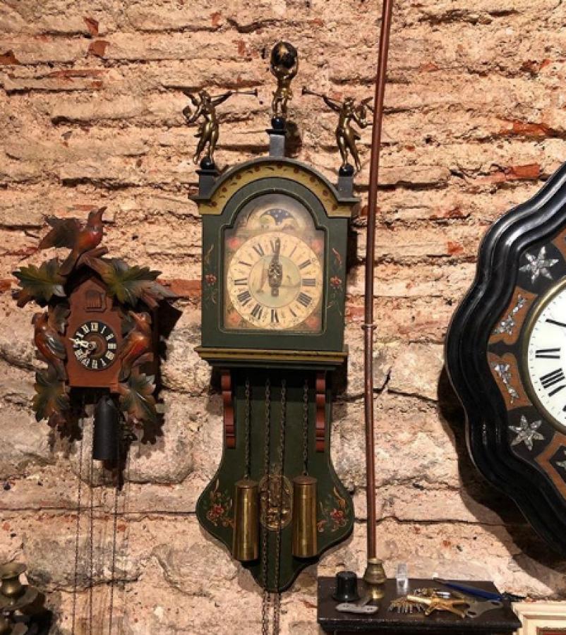 Hollanda Saati 1940'lar Yeşil Yağlı Boya