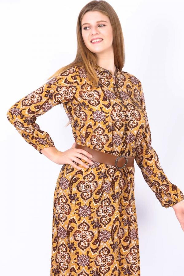 thumbDesenli Elbise - Sarı