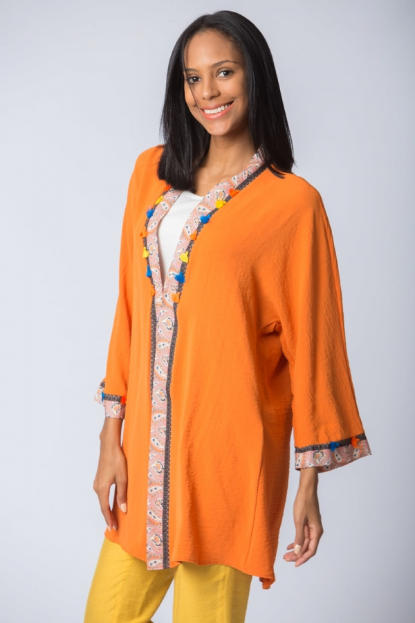 Şifon Kimono - Turuncu