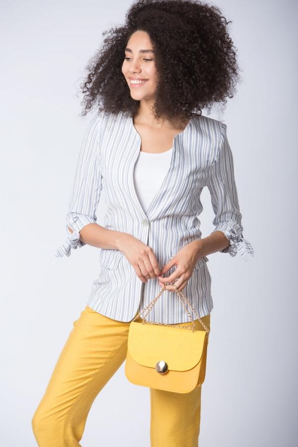 Çizgili Ceket - Lacivert