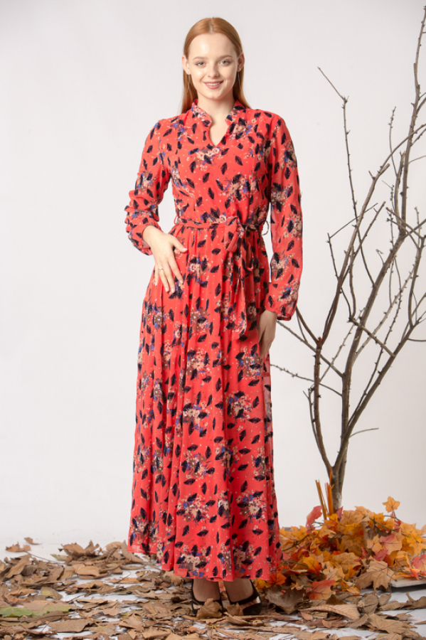 Flok Baskılı Desenli Şifon Elbise - Mercan