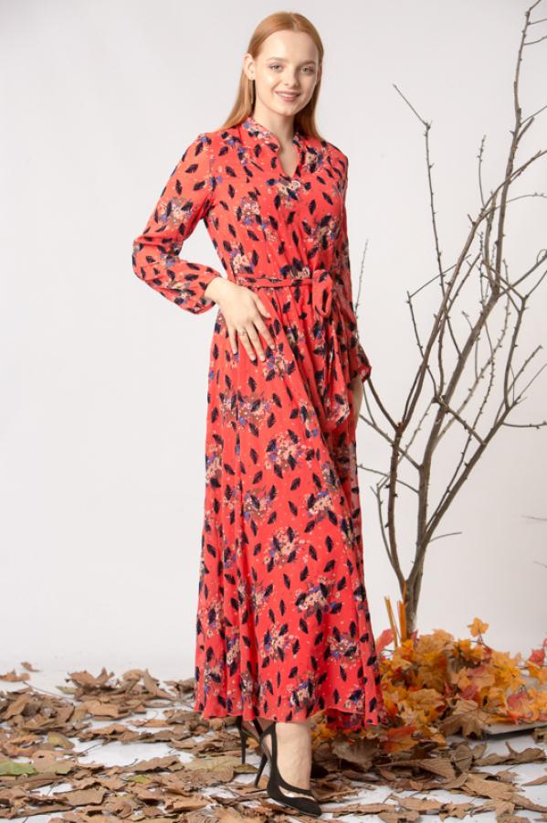 thumbFlok Baskılı Desenli Şifon Elbise - Mercan