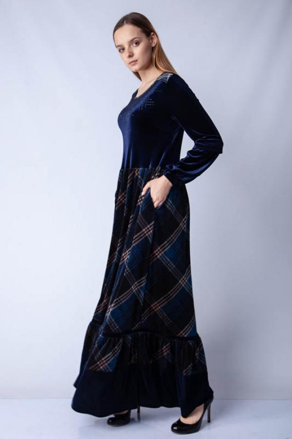 Taşlı Kadife Eteği Ekose Elbise - Lacivert