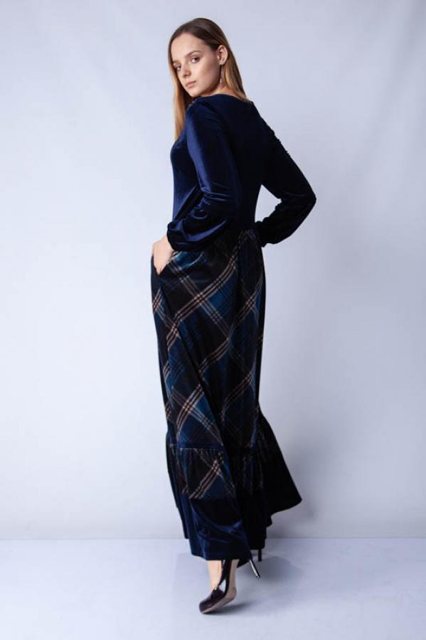 thumbTaşlı Kadife Eteği Ekose Elbise - Lacivert